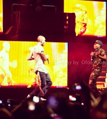 Chris Brown and Wizkid perform together on stage in Ghana