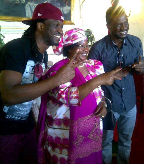 P-Square pictured with the president of Malawi, Joyce Banda